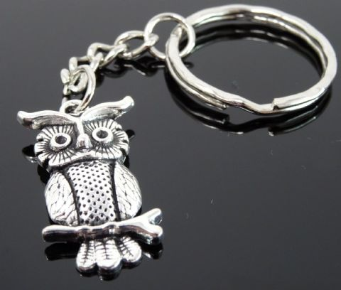 Silver Tone Keyring (M306) - Smaller Owl